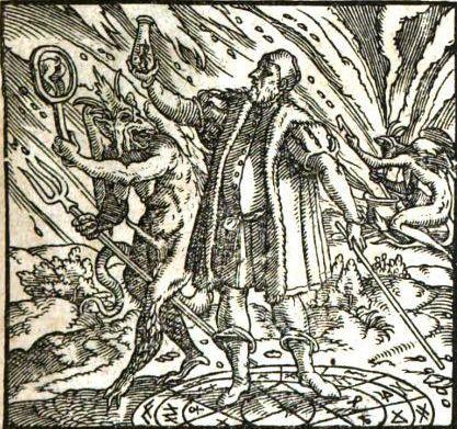 Afbeelding uit Der Zauber Teuffel, Ludovicus Milichius, 1566. Vanaf de 2e helft van de 16e eeuw verschijnen duivelsboeken. Deze korte, didactische en vaak grappige werken benadrukken hoe de duivel de mens wil verleiden tot zonde. Op het titelblad van de Toverduivel staat een figuur in een magische cirkel die een duivel in een fles heeft gevangen. Een lelijke duivel buiten de cirkel houdt hem een spiegel voor waarin zijn billen te zien zijn, symbool van het duivelse bedrog.