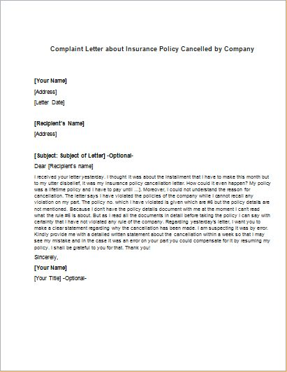 complaint letter about insurance policy cancelled company download car cancellation sample letters