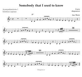 Somebody that I used to know de Gotye Partitura para Flauta, Violín, Oboe, Clarinete, Saxofón Alto,