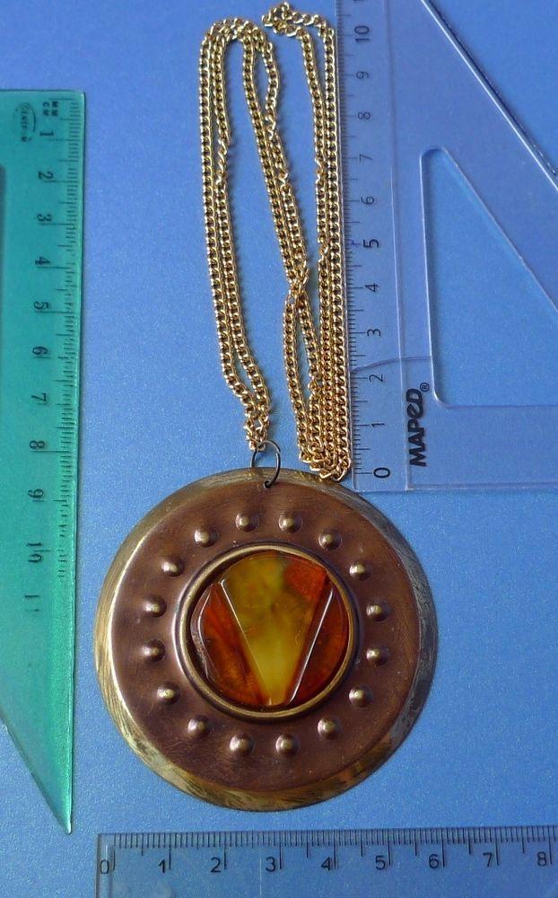 Vintage Jewelry Cognac Yellow Baltic Amber round PENDANT with new chain handmade #Handmade #Pendant