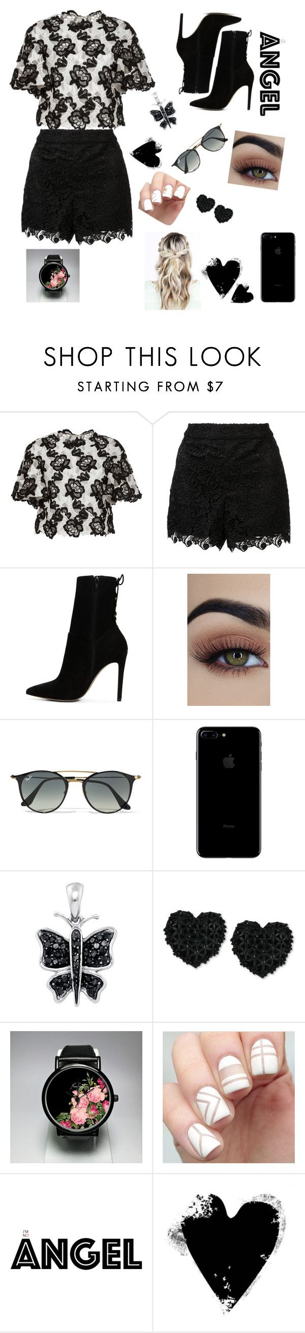 """Black 'n White"" by mariathomas02 ❤ liked on Polyvore featuring Monique Lhuillier, Alice + Olivia, ALDO, Ray-Ban and Betsey Johnson"