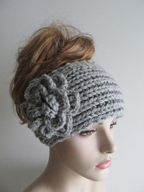 Gray Flower Headbands Ear warmers Crochet Chunky Knit Fall Winter Accessories Womens Heather Grey Headwraps