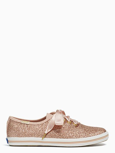 Keds Kids X Kate Spade New York Champion Glitter Youth Sneakers, Rose Gold - Size 1.5
