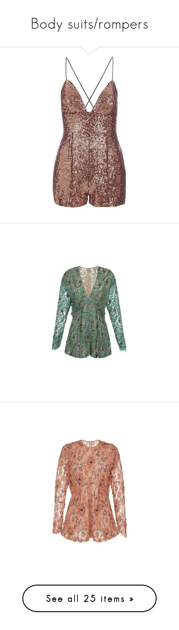 """""""Body suits/rompers"""" by sydneymarissa ❤ liked on Polyvore featuring jumpsuits, rompers, dresses, playsuit, rare london, brown romper, sequin romper, sequin rompers, playsuit romper and vestido"""