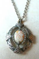 Vintage Celtic Cross Oval Pendant And Necklace.