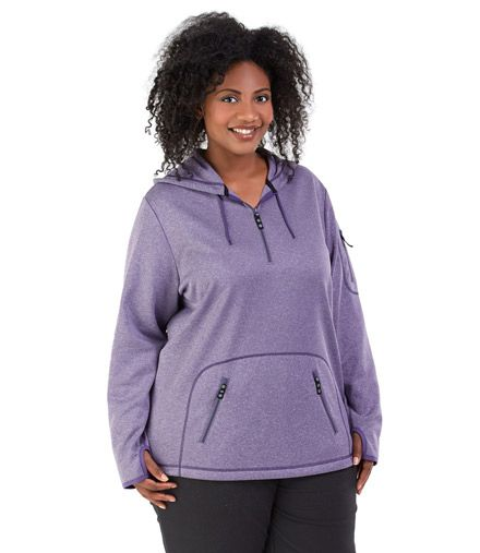 A Lightweight Plus Size Fleece Pullover With Thumbholes And Pockets