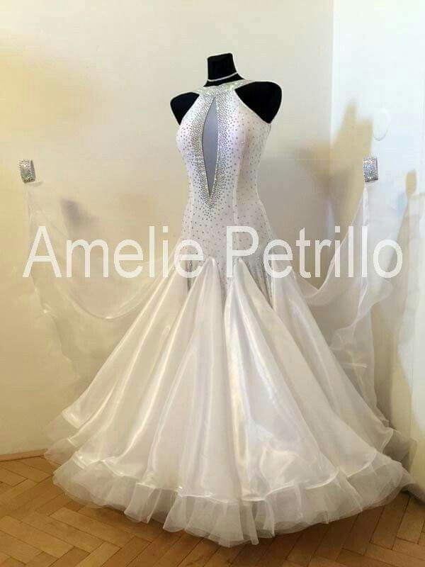 White ballroom dancing dresses