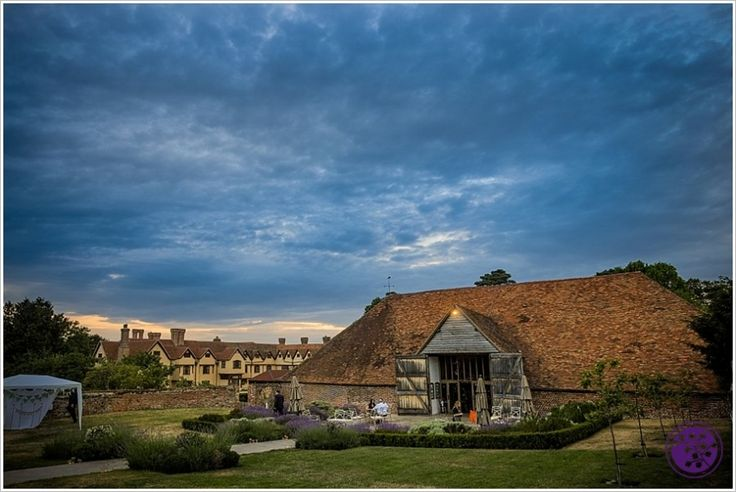 The Tithe Barn at dusk. From Mark and Hazel's Ufton Court wedding. http://www.simonkempweddings.co.uk/mark-and-hazels-ufton-court-wedding-story/ #uftoncourt