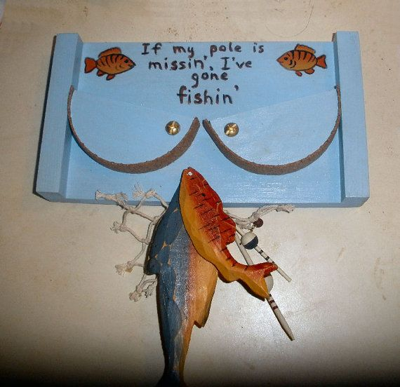 I've Gone Fishing pole holder for 2 fishing by ChaseYourDream, $32.00