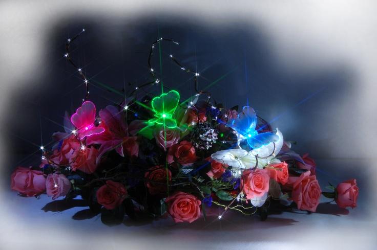 Pink, Green and Blue Butterflies.
