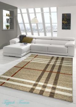 Teppich Barock-Design Kurzflor Braun Beige Grau Rot Weiss (Casa)
