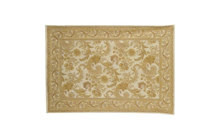 Baroque Traditional Gold Cotton and Wool Rug at Laura Ashley
