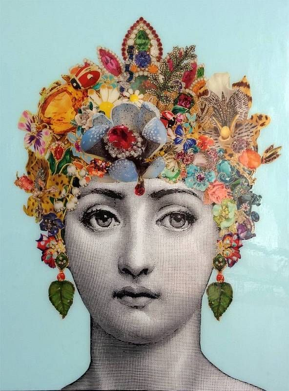 Lina Cavalieri—the Italian opera singer who served as Fornasetti's muse—has a fresh new look thanks to Etsy artist Lory Palomi. Her intricate decoupage canvas features Cavalieri donning a bejeweled crown with baubles by Dior and Tiffany & Co.