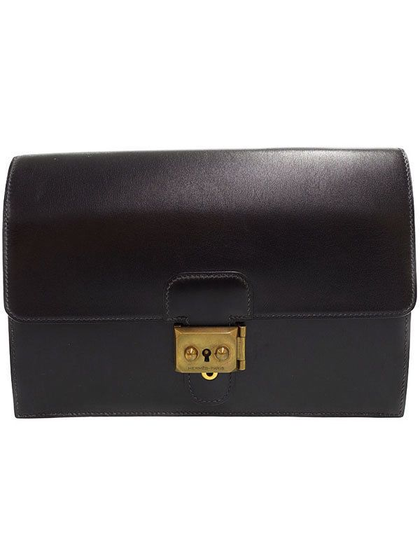 1bc87d88bd65 eBay  Sponsored HERMES Clutch Bag Pochette Jet Black Gold HW Box Calf Mens  FS Excellent  1519
