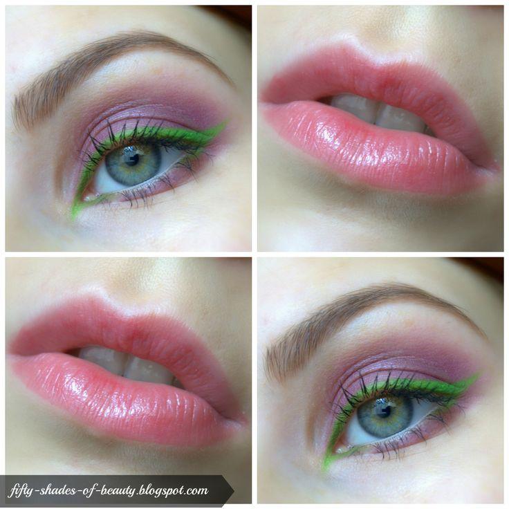 Fresh, summer Make up with green eyeliner http://fifty-shades-of-beauty.blogspot.com/2014/05/makijaz-z-zielonym-eyelinerem-green.html