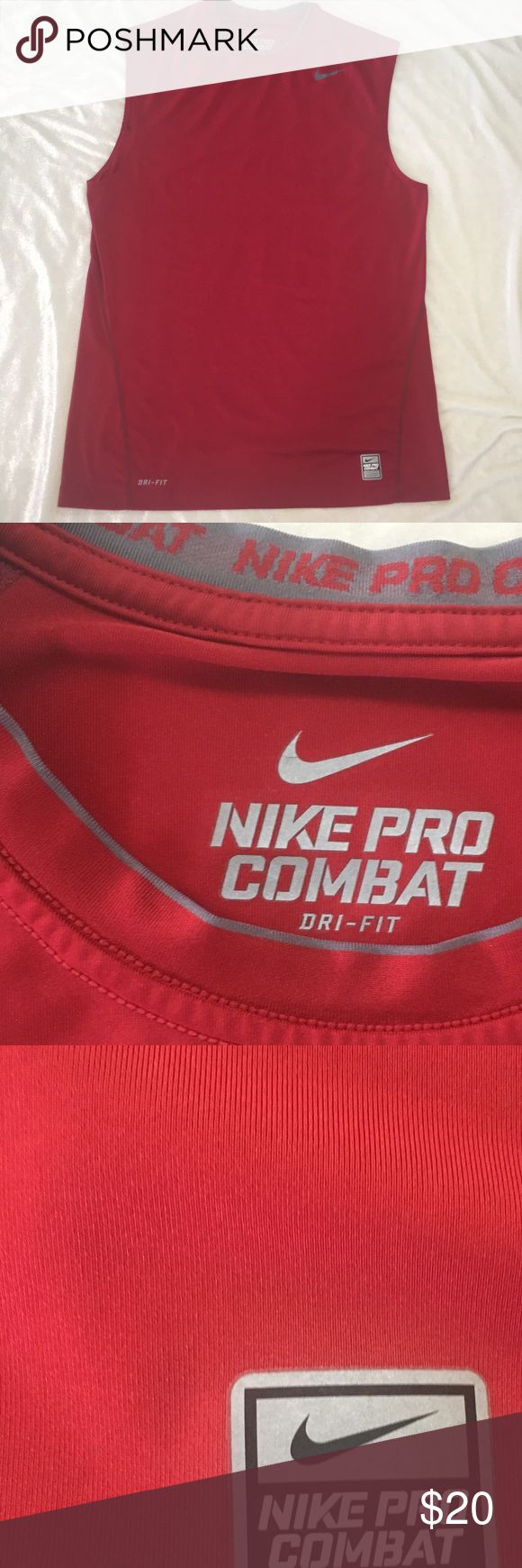 NIKE PRO COMBAT SLEEVELESS SHIRT MEN Fitted LG Red NIKE PRO COMBAT SLEEVELESS ATHLETIC SHIRT MENS Fitted SIZE LARGE Red Nike Shirts Tank Tops