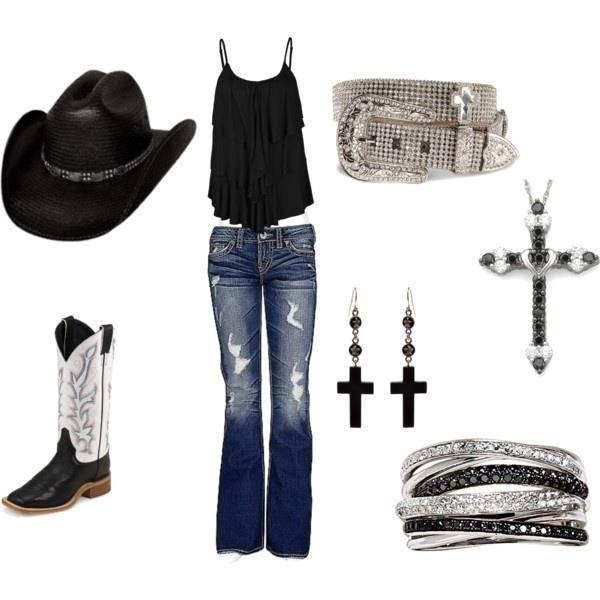 Cowgirl style- black and white bling