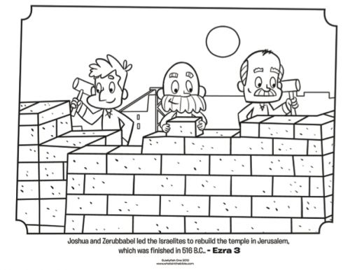 Kids coloring page from What's in the Bible? featuring the Israelites rebuilding Jerusalem from Ezra 3. Volume 7: Exile and Return!