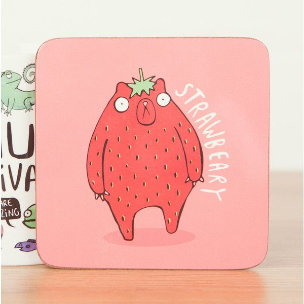 Strawbeary Cute Coaster Pun Coaster Strawberry Gift Funny Coaster Gift... ($5.07) ❤ liked on Polyvore featuring home, kitchen & dining, bar tools, home & living, kitchen décor, light pink and square coasters