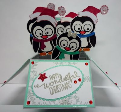 BaRb'n'ShEll Creations - Penguin box card - BaRb