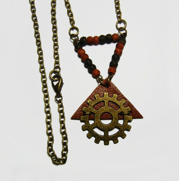 Bronze Gear Leather Triangle Wooden Beads Necklace by FoxliciousDesign on Etsy