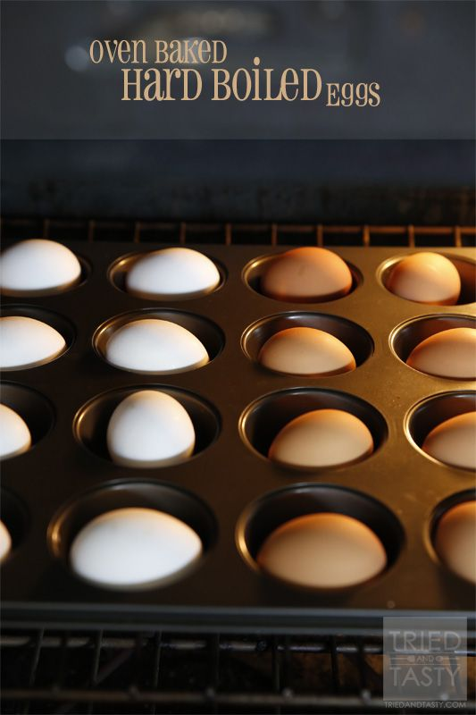 Preheat your oven to 325. In a muffin tin, place one egg per cup. Cook for 30 minutes. Remove eggs from the oven and immediately place in a ...