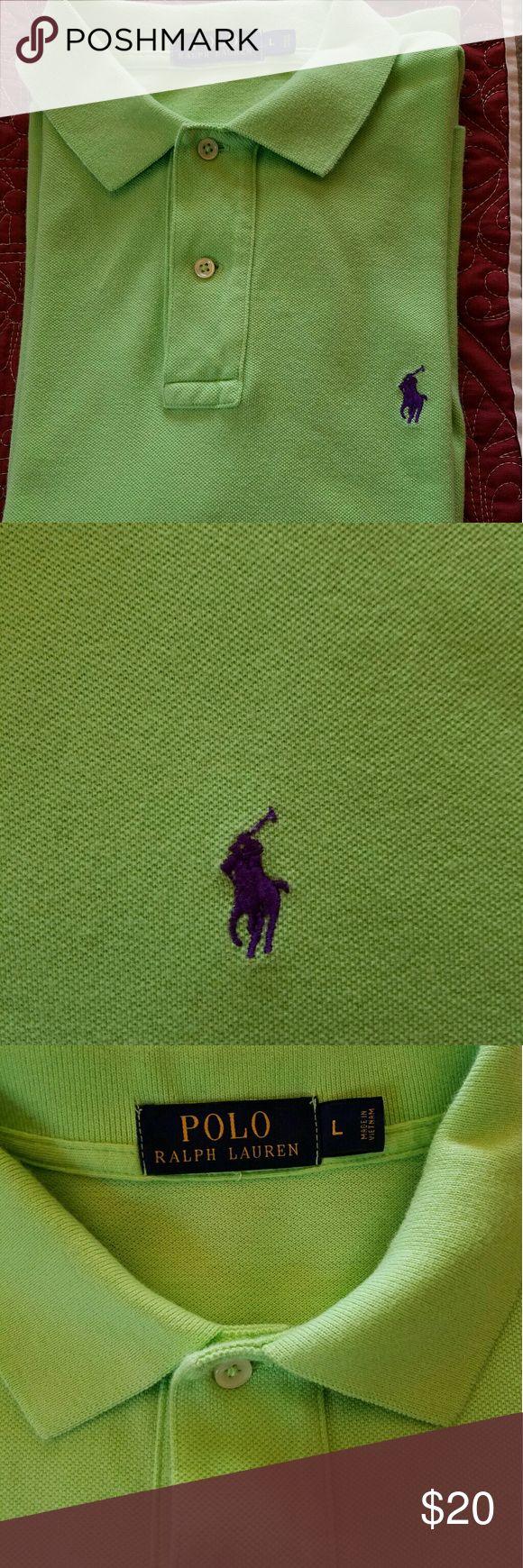 Ralph Lauren Polo shirt Lime green Polo Shirt with purple Polo logo Ralph Lauren Shirts Polos