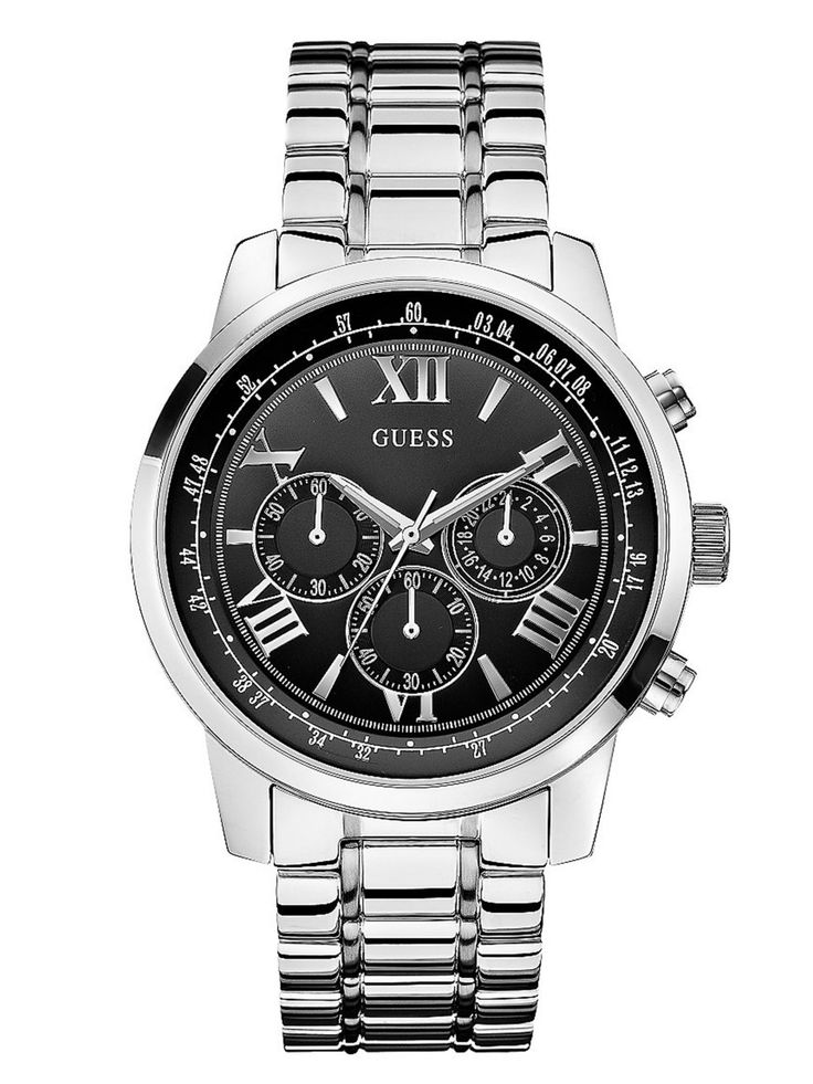Black and Silver-Tone Classic Chronograph Sport Watch