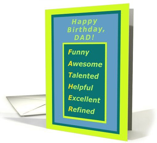From Son To Dad Happy Birthday Compliments Acrostic Card