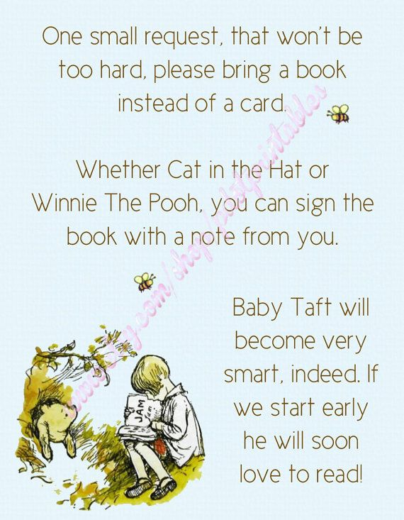 the pooh baby shower envelope insert bring a book instead of a card