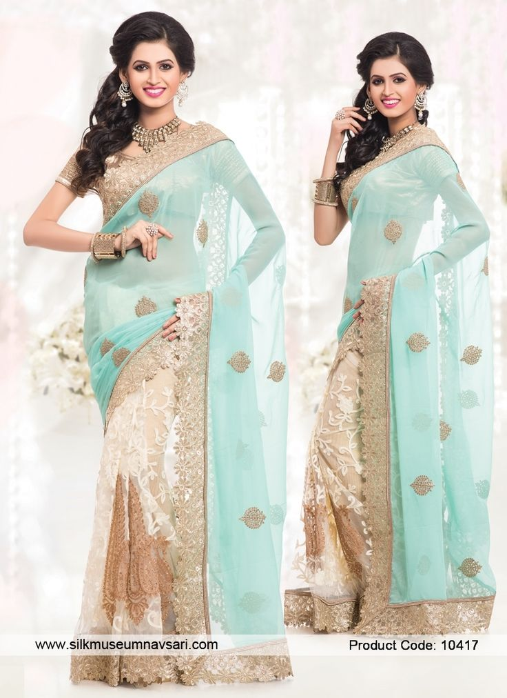 Unique Zari Work Faux Chiffon Half N Half Designer Saree