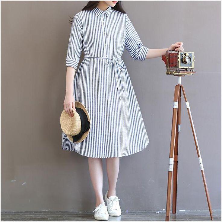 Stripe print long shirt dress/loose fitting dress for women/3/4 sleeve peter pan collar stripe long dress /Caftan/Plus size clothing