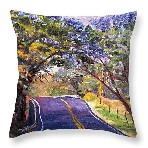 Throw #pillow #jacaranda #painting #hawaii #maui