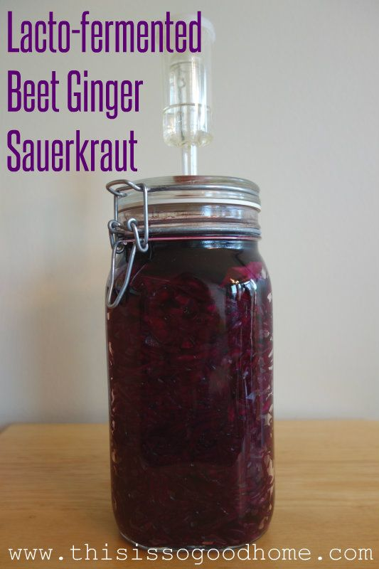 Lacto-fermented Beet Ginger Sauerkraut // deliciousobsessions.com