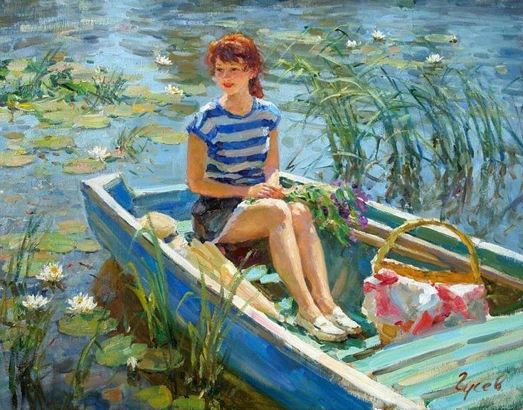 Maher Art Gallery: Vladimir Gusev, 1957 ~ Plein-air Figurative painter