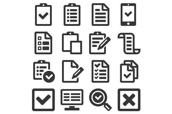 Checklist Survey Icon Set  by in8finity on @creativemarket