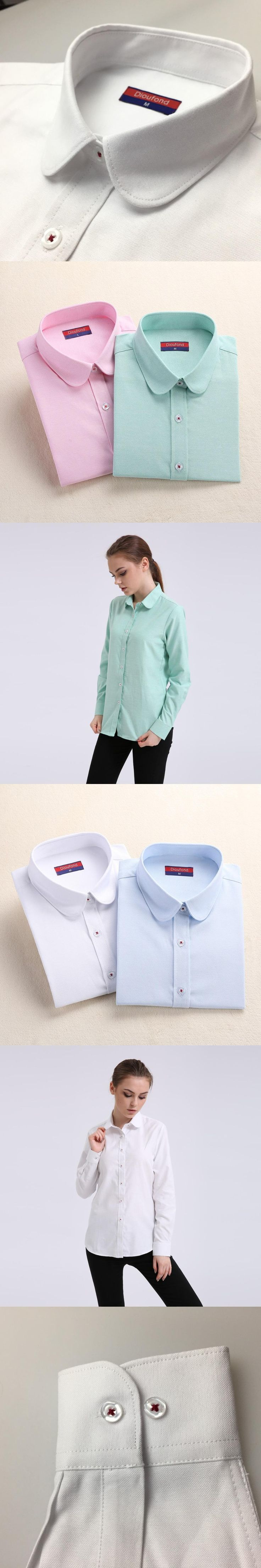 Dioufond Women Cotton Oxford Blouse Solid Long Sleeve Shirt Plus size Female Blusas Turn Down Collar Shirts Ladies Office Tops
