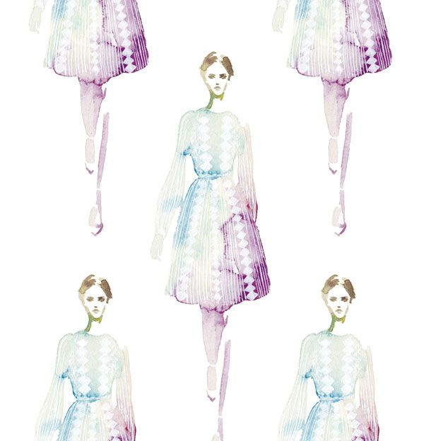 watercolor,illustration,fashion,dress,valentino
