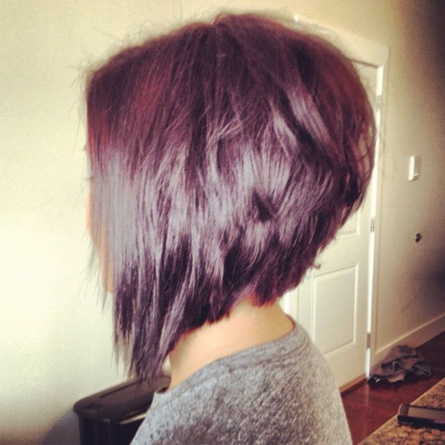 inverted bob hairstyle back view | Orchid and merlot with a choppy stacked cut. I LOVE THIS CUT AND COLOR ...