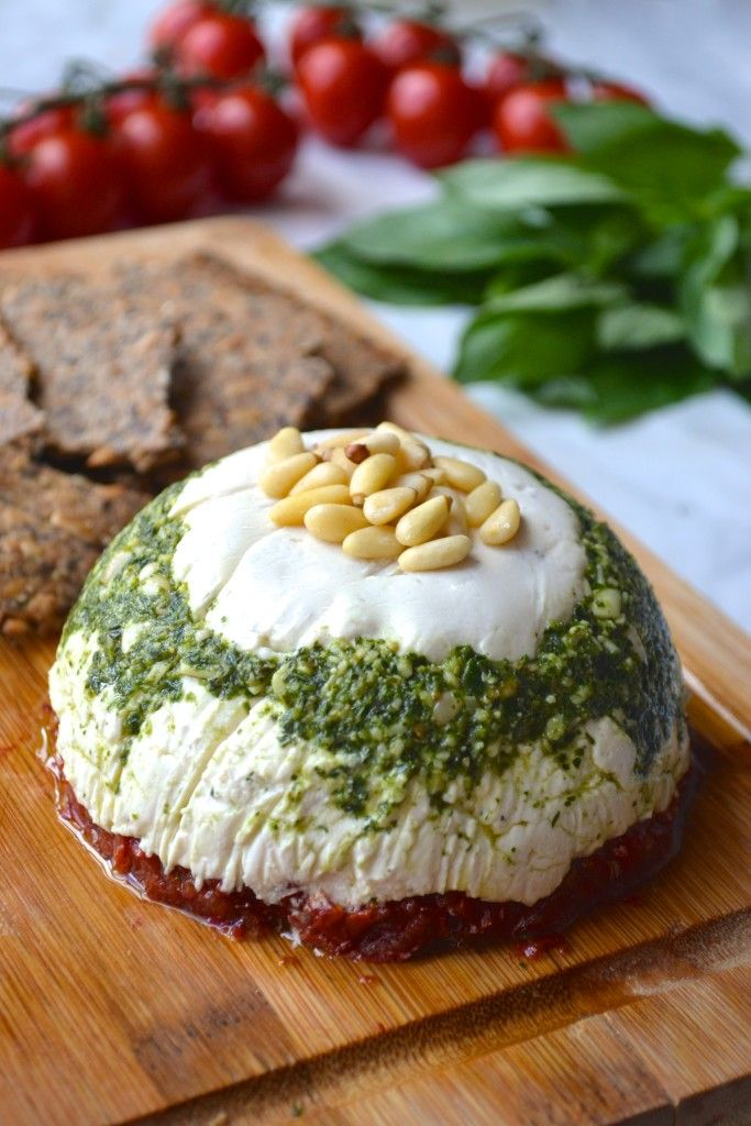 Vegan Goat Cheese, Pesto and Sundried Tomato Tower - dairy free and so delicious!