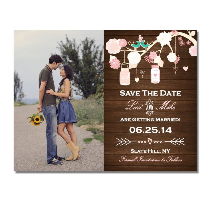 sample wording for save the date wedding cards%0A Wood Mason Jar  u     Birds Save The Date Magnet or Card with Photo DIY  PRINTABLE Digital File or Print  extra