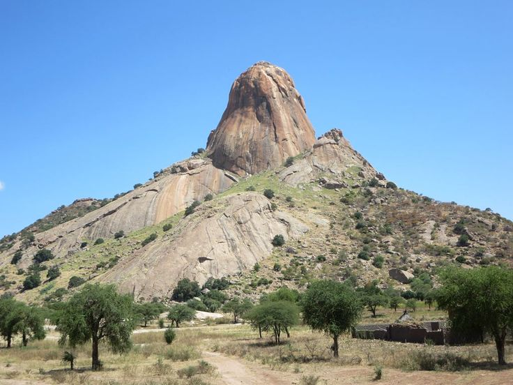 This high granite outcrop is just west of Bitkine in the Sahel region of Chad, Central Africa.