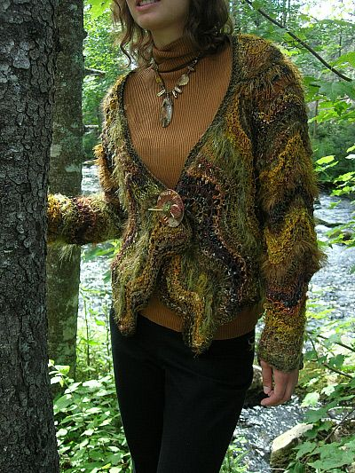 And here's the mossy cardigan born of all that moss.