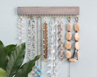 collar colgante de madera gris de Driftwood Mostrar rack y organizador con oro (latón) o níquel ganchos (plata)