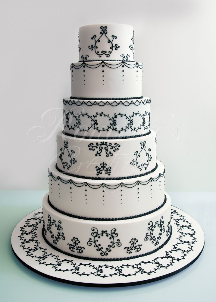 Design Is Based On Cake Bosss Black And White 6 Tier Wedding 3 Large Sugar Roses Replaced The Anemone Flowers