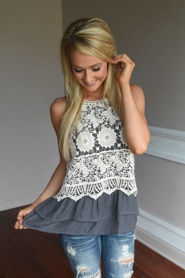 Ruffle My Feathers Crochet Tank ~ Charcoal