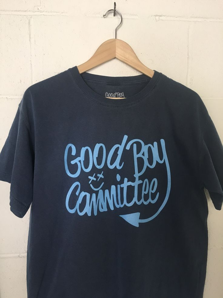 Navy Blue T-Shirt with Light Blue Good Boy Committee Logo