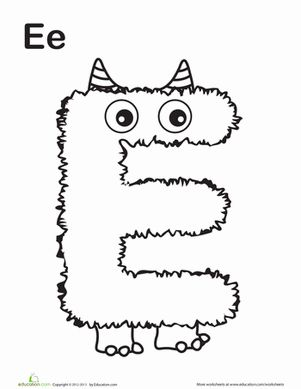 Halloween Preschool The Alphabet Letter E Worksheets: Monster