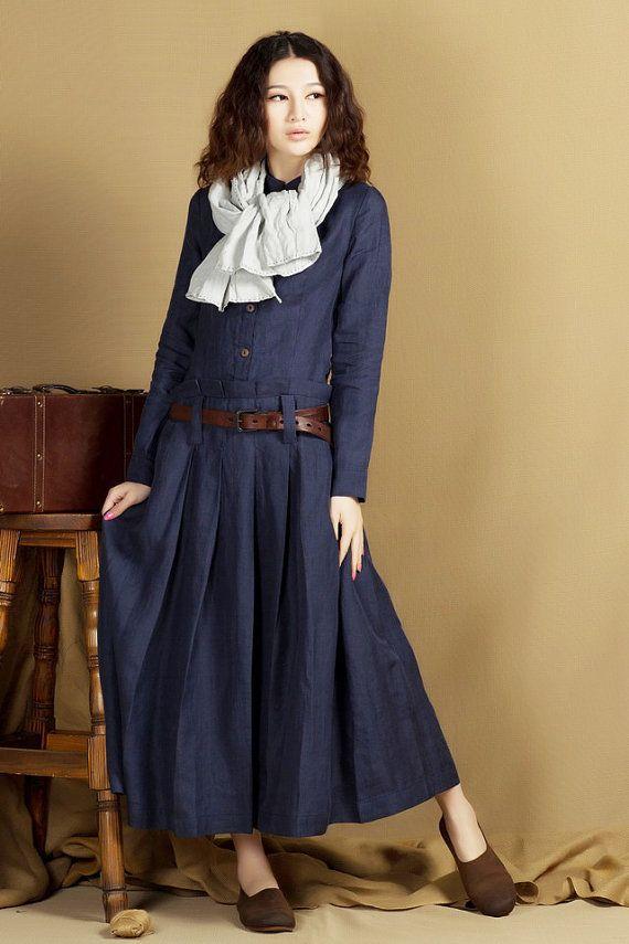 lange jas jurk, maxi trenchcoat in blauw, linnen jas - maat