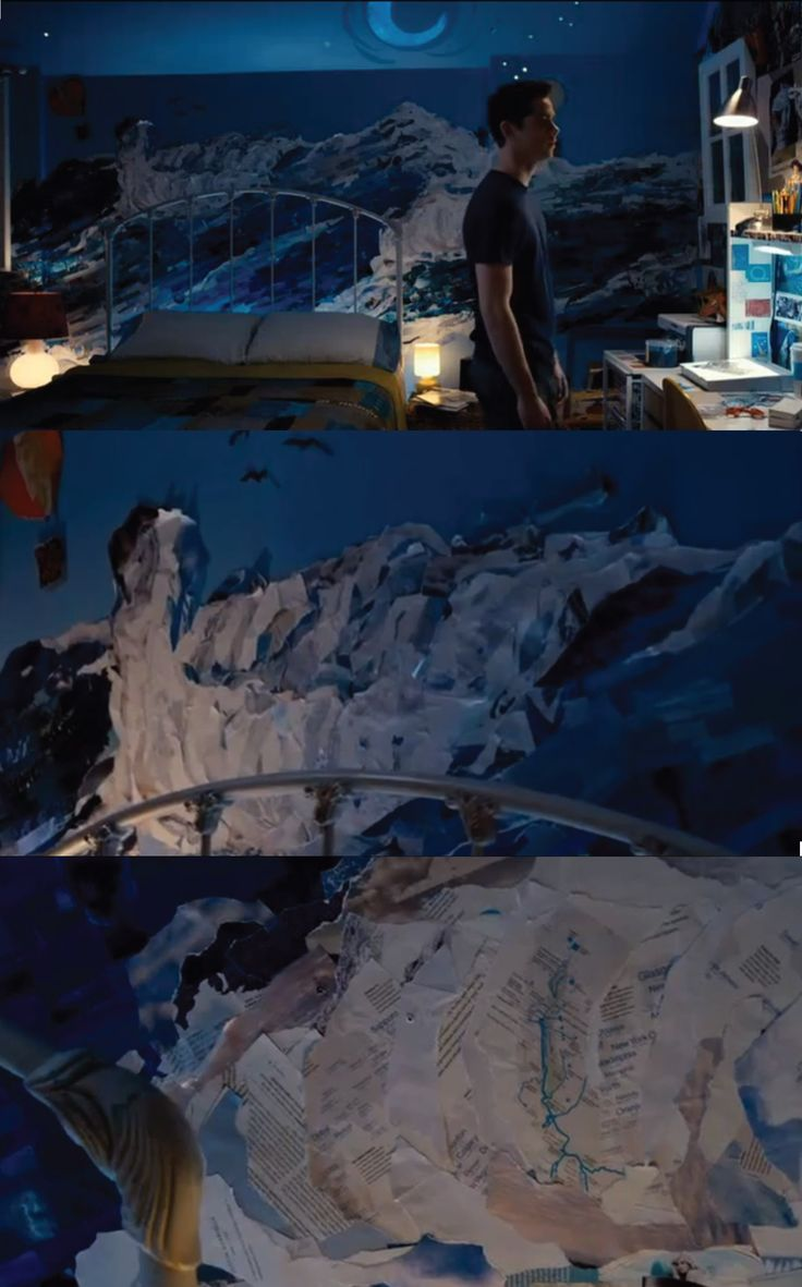 collaged wall in aubrey miller's room (the first time movie)